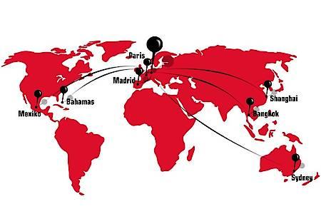Eine Weltkarte mit dem schönsten Kreis der Welt als Mittelpunkt