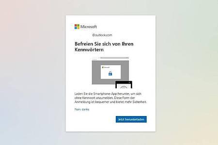 Microsoft wirbt mit einemPop-up fürs kennwortlose Konto. Foto: Microsoft/account.microsoft.com/dpa-tmn