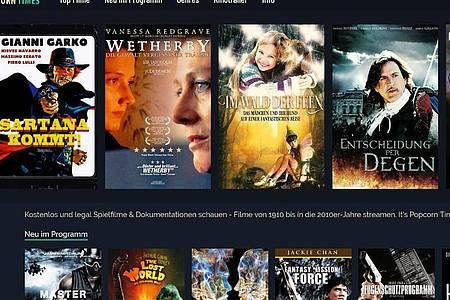 Gratis gegen Werbung: Tausende Spielfilme aus den Jahren 1910 bis 2010 bietet Popcorntimes.tv an. Foto: Popcorntimes.tv/dpa-tmn