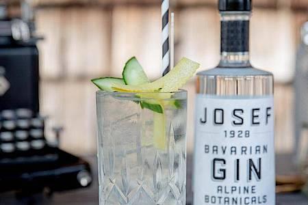 Bevor der Gin ins Glas kommt, sollte es randvoll mit minus 18 Grad kalten Eiswürfeln gefüllt werden. Denn viel Eis hält die Kälte besser, sodass das Getränk nicht so schnell verwässert. Foto: Lantenhammer Destillerie/dpa-tmn