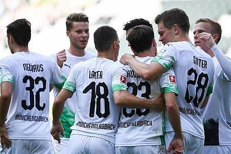Ein Sieg gegen Absteiger SC Paderborn ist für die Profis von Borussia Mönchengladbach Pflicht. Foto: Federico Gambarini/dpa-Pool/dpa