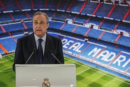 Real-Präsident Florentino Peréz glaubt noch an die Super League. Foto: Manu Fernandez/AP/dpa