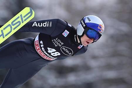 Vinzenz Geiger wurde Dritter in Val di Fiemme. Foto: Espa Photo Agency/CSM via ZUMA Wire/dpa