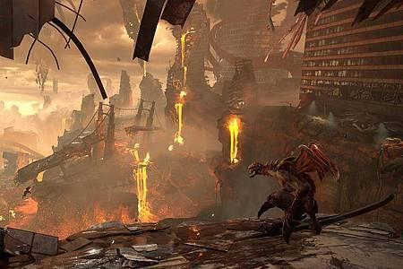 Das sieht nicht gut aus:In «DoomEternal» haben Dämonenhorden die Erde erobert. Foto: Bethesda/dpa-tmn