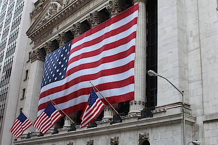 USA Flaggen an einem Gebäude